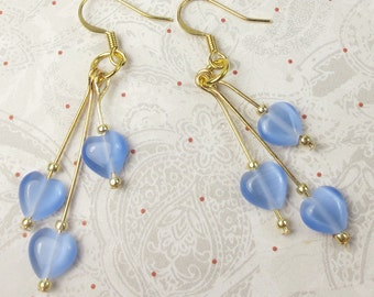 Blue Cats Eye heart beads in dangle earrings