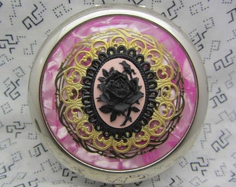 Compact Mirror Black Rose on Pink Comes With Protective Pouch