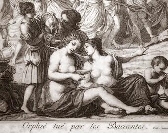 1734 Antique Dutch Copper Engraving. Orpheus Put to Death by the Bacchanalians