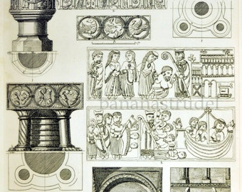 Large Antique Engraving of Holy Water Basins - Fonts - Plate 32 - 1845 Vintage Print - British Architectural Gems