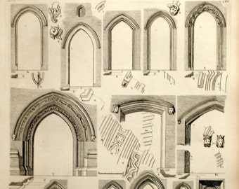 1845 Antique British Architecture Print - Rare Large English Antique Engraving of British Architectural Gems.Doorways and Doors. Plate 57