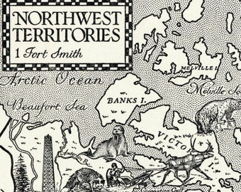 1960 Vintage Illustrated Map of the Northwest Territories