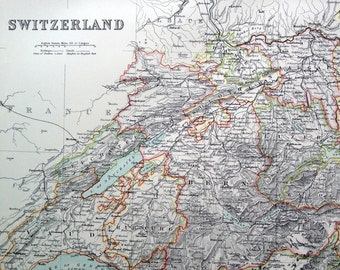 Large Antique Map of Switzerland. From 1890 Scribner's Library Edition Atlas