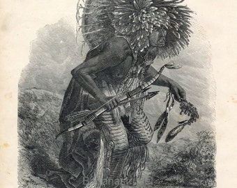 1873 Antique Engraving of the Dog Dance of the Meunitarris Indians
