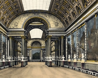1920s Antique Print of the Gallery of Battles, Versailles