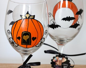 Halloween wedding, Halloween wine glass, Cinderella carriage, pumpkin carriage, painted wine glass, October wedding, orange, wine gift
