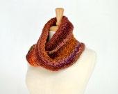 Bulky Autumn Cowl, Crochet Loop Scarf, Striped Orange Mobius
