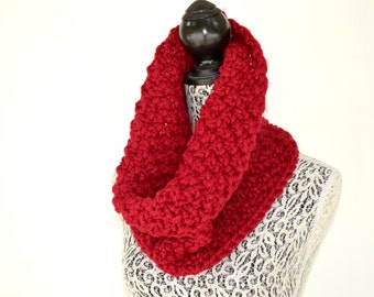 Cranberry Red Knit Cowl Scarf, Chunky Woman or Man's Winter Scarf