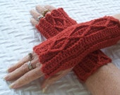 Womens Crochet Mitts, Rust Orange Mitts, Fingerless Mitts, Wristwarmers, Washable Wool, Crocheted Cable Mitts, Teen Girl Mittens,