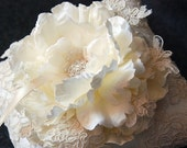 Wedding Ring Pillow -Ivory  Silk Ring Bearer Pillow With Dark Ivory Lace Overlay and Bloom - Lillian