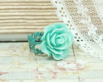Turquoise Flower Ring Blue Rose Ring Rose Cabochon Ring Victorian Ring Blue Flower Ring