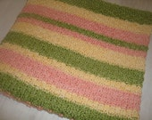 Luxurious organic cotton / bamboo knee  or baby blanket- Peaches Stripe Blanket -Ready to Ship