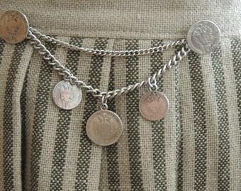 German/Austrian Stripe Octoberfest Skirt with Metal Coin Embellishment Waist 28