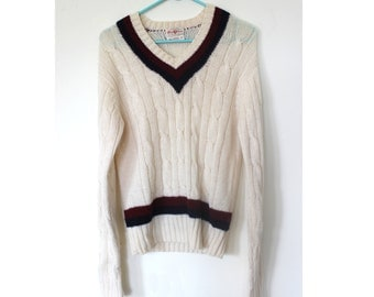 70s Cream White College Cable Knit Sweater Wool Vintage