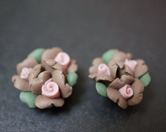 SALE - Small Brown and Pink Triple Flower Buds Fimo Flowers - 6 pcs