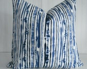 NEW-DURALEE-SABAKI-- -Both Sides-Decorative Pillow Cover--Designer Fabric -Ikat Stripe - Blues- Indigo - Ivory White Throw / Lumbar Pillow