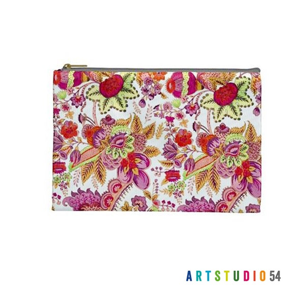 "Pink Orange Floral on a Pouch, Make Up, Cosmetic Case Travel Bag Pencil Case - 9"" X 6"" -  Large -  Made by artstudio54"