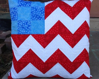 Handmade patriotic quilted pillow cover - patchwork vintage sheets American Flag