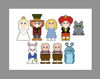 Alice in Wonderland Pixel People Cross Stitch Pattern PDF ONLY