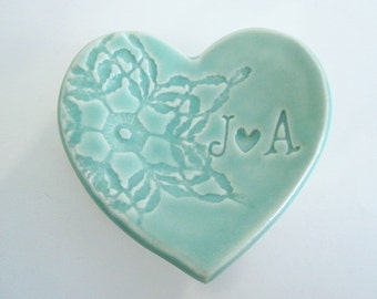 Engagement ring holder, engagement gift, mint green ring dish, Wedding ring holder, heart shaped ring holder, Made to Order