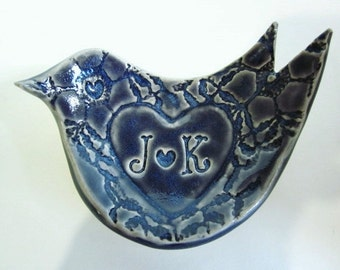 His and hers ring holder with initials J and K is in stock ready to ship
