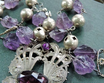 Antique Assemblage Statement Necklace Antique German Silver Sash Pin Amethyst Nuggets