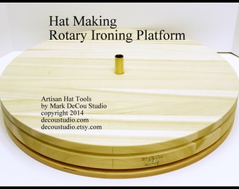 Built-to-Order, Hat Making Millinery Rotary Table Flat Brim Ironing, Solid Poplar Wood, Brass Center Post, Specify Diameter you want