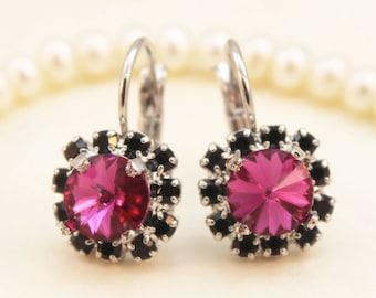Fuchsia Black earrings Pink Black Drop Earrings Magenta earrings Fuchsia Swarovski Crystal Fuchsia Wedding,Silver finish, Fuchsia,SE96