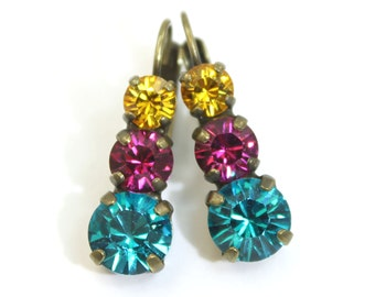 Fuchsia Teal Earrings Crystal Green Yellow Hot Pink Multicolored drop earrings made with Swarovski crystals, Brass finish,CASHMERE: BE45