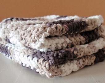 SUMMER SALE - Crochet Washcloths - Handmade Chocolate Cream Scrubbie Cloths, Eco Friendly Cleaning Cloth, 100% Cotton Washcloths, SET of 2