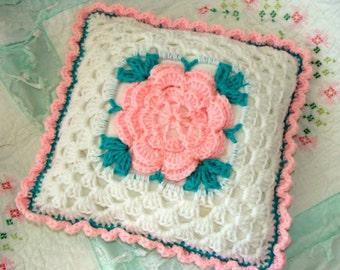 Vintage Kitsch1950s Pink Rose Handmade Crochet Shabby Chic Romantic and Very Feminine Throw Pillow