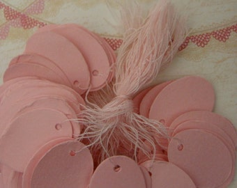 Pink String Tags One Dozen Gorgeous Pink Color Easter Egg Shaped