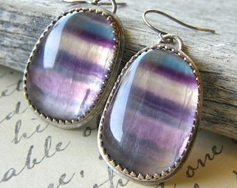 Purple Flourite Metalwork Earrings, Sterling Silver Gemstone Earrings, Striped Earrings, Purple and Teal Rustic Earrings