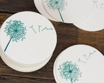 Dandelion Breeze Letterpressed Paper Coasters