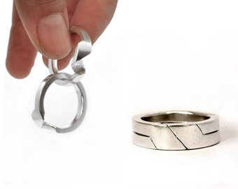 puzzle ring, 2 piece. Sterling silver.  unisex ring. sport elegant. Silver band ring. Geometric  ring   Blessing  