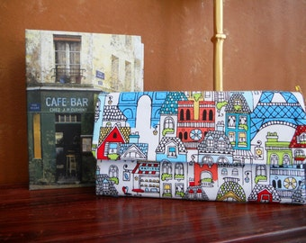 Paris Wallet / Wristlet / Clutch /  Coin / Credit Card / CheckBook / Cell Phone / Bridesmaid Gifts / Paris in Colour Pencil