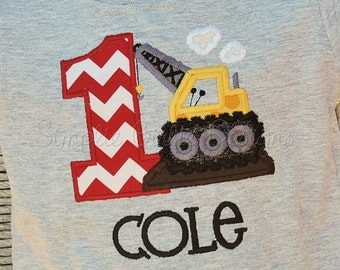 Custom construction crane birthday shirt. Personalized. Sizes 12m to boy's small. Other colors and sizes available.