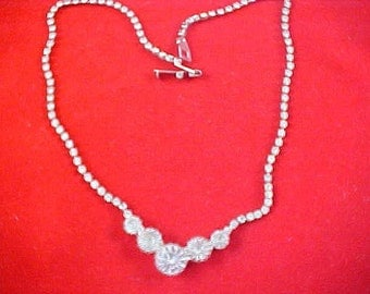 1930's ART DECO Headlights & Chatons Diamante  and  Silver Plate Necklace