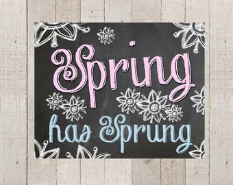 Spring Has Sprung Chalkboard Sign 8x10 Print- Instant Download