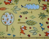 Fat Quarter Cute , Whimsical Forest Scene Foxes, Birds, Mushrooms, Trees