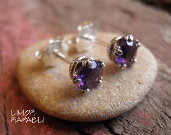 February birthstone, Vintage Style purple Amethyst earrings, Genuine Amethyst earrings, purple stud earrings, Statement Jewelry