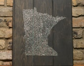 """Glitter State Silhouette -  Wood Wall Art - 15""""x18"""" - Classic Gray Colored Stain - Minnesota - custom color and state available"""
