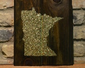 """Glitter State Silhouette -  Wood Wall Art - 10""""x12"""" - Dark Walnut Colored Stain - Minnesota - custom color and state available"""