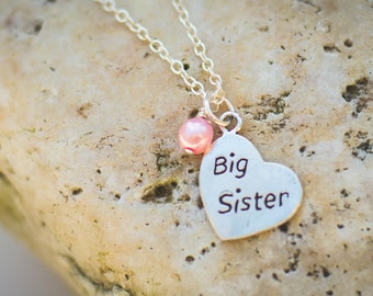 Big Sister new baby welcome sterling silver heart necklace