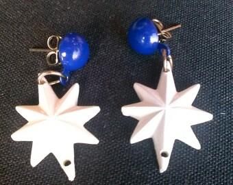 50s ATOMIC Stars Drop Style Earrings Blue 1950s 1960s