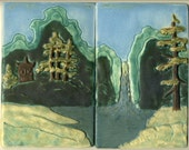 Asian / Chinese style Landscape Tiles with Lake, Waterfall, Trees and Mountains - 2 Tile Set