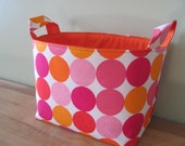 LARGE Fabric Organizer Basket Storage Container Bin Bucket Bag Diaper Holder Home Decor- Size Large - Disco Dots Pink and Orange