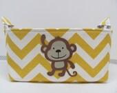 Personalized Diaper Caddy - APPLIQUED Monkey Fabric Basket Storage - Custom Design - Diaper Bag - Baby Gift- Nursery Decor - Chevron Zigzag