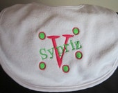 Embroidered Baby Bib with Name and Initial- Boy or Girl
