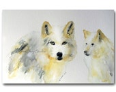 Gray Wolf Watercolor Painting Fine Art in Mat & Frame Wildlife Portrait Modern Realism Neutral Wall Decor Original Art Ready to Ship